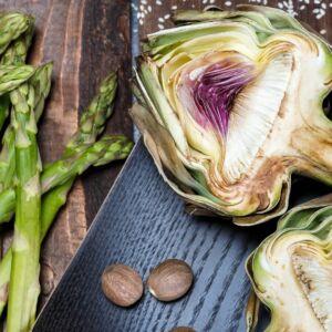 espárragos alcachofas-paella-de-verduras