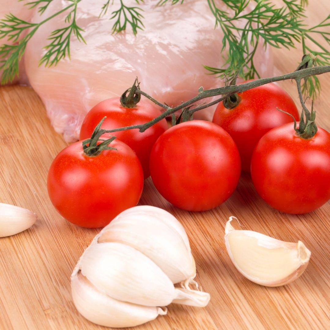 tomate ajo paella de la huerta con pollo