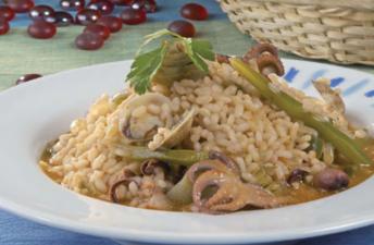 arroz con pulpitos y alcachofas