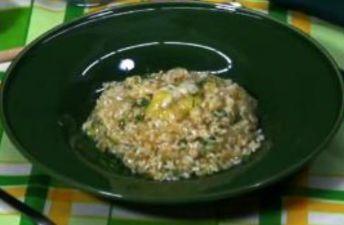 arroz cremoso con cocochas de bacalao