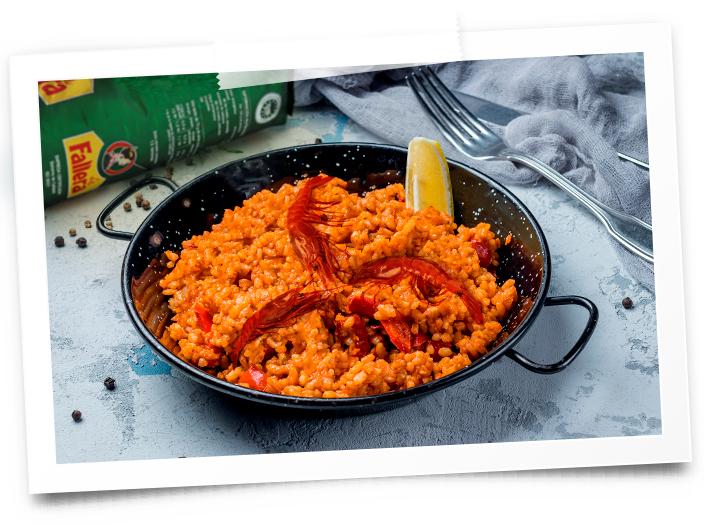 Plato de arroz con carabineros